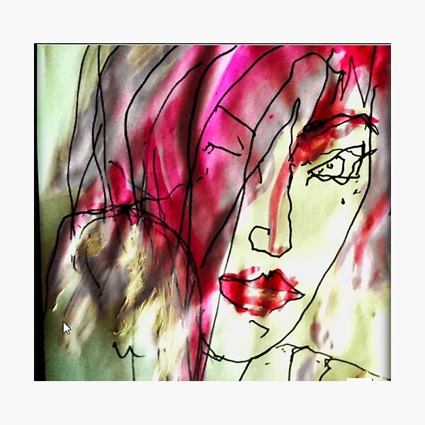 Portrait of a woman. Watercolor in pink - She's Frightened of the Strangest Things Photographic Print