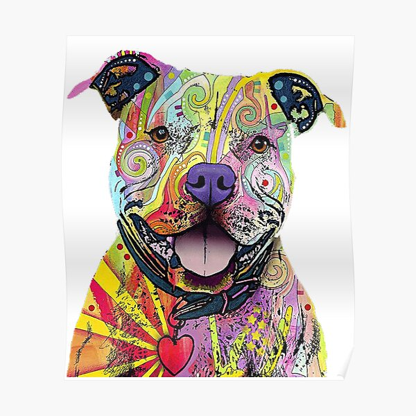 PitBull T-Shirts Colourful Pit Bulls T-Shirt Poster
