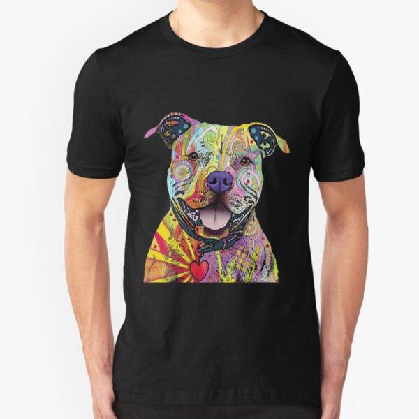 PitBull T-Shirts Colourful Pit Bulls T-Shirt Slim Fit T-Shirt