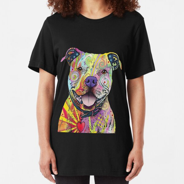 PitBull T-Shirts Colourful Pit Bulls T-Shirt Slim Fit T-Shirt