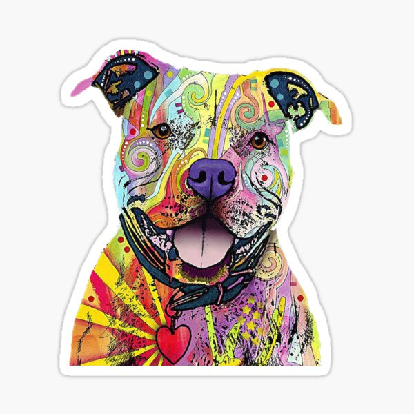 PitBull T-Shirts Colourful Pit Bulls T-Shirt Sticker