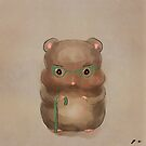 Grandfather Hamster with green Glasses Oil Painting by Monica Michelle
