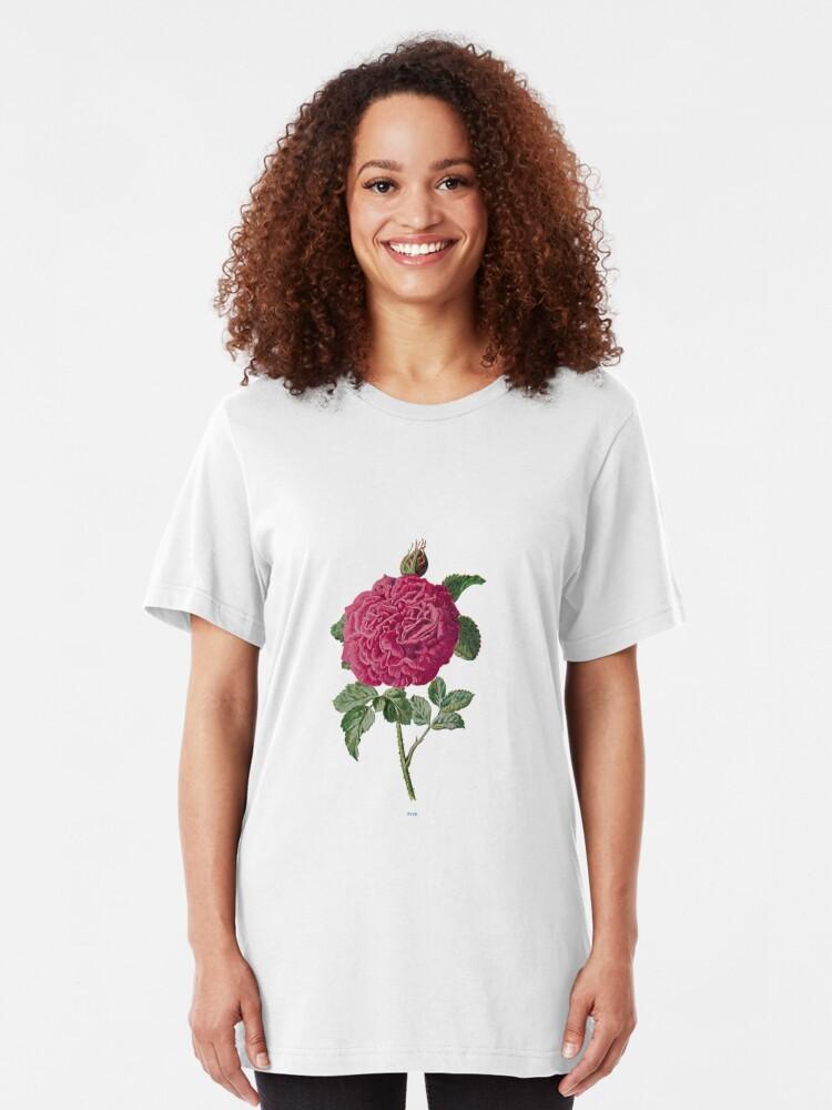 Alternate view of Rose Print, Original Flower Print, Botanical Antique, Antique prints, Old print, Rose Wall art Slim Fit T-Shirt