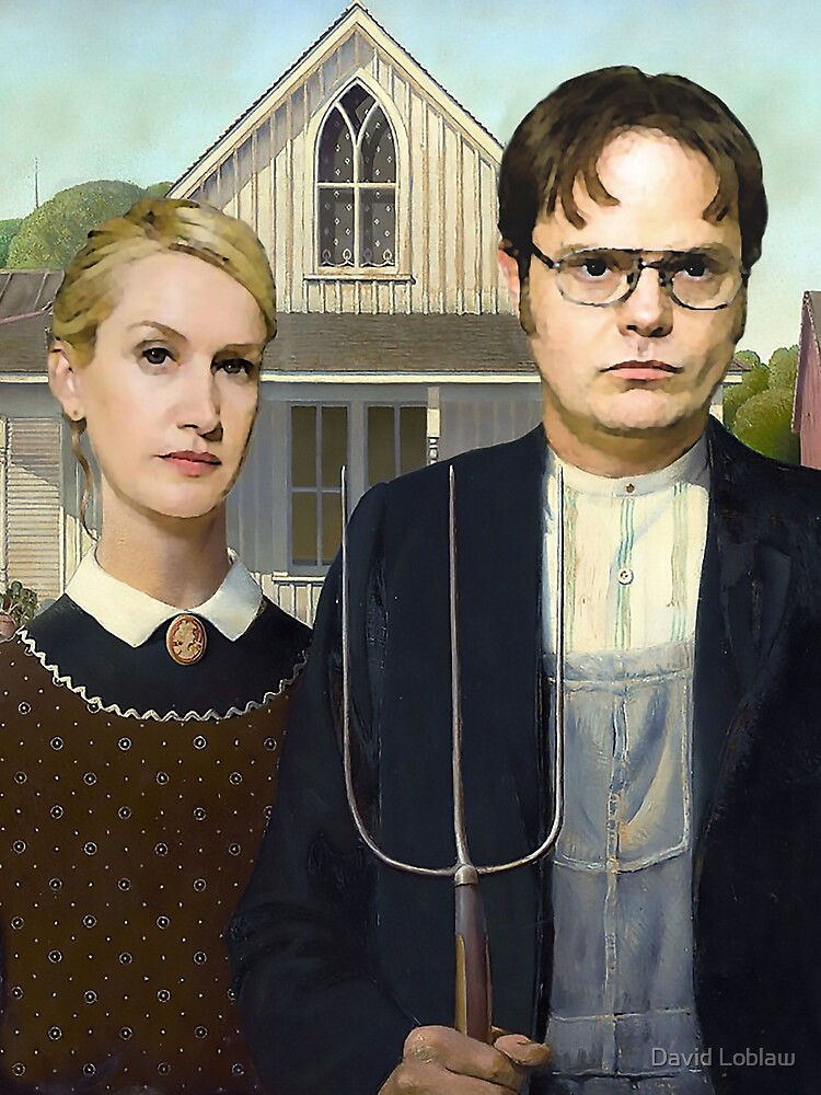 Dwight and Angela American Gothic by DavidLoblaw