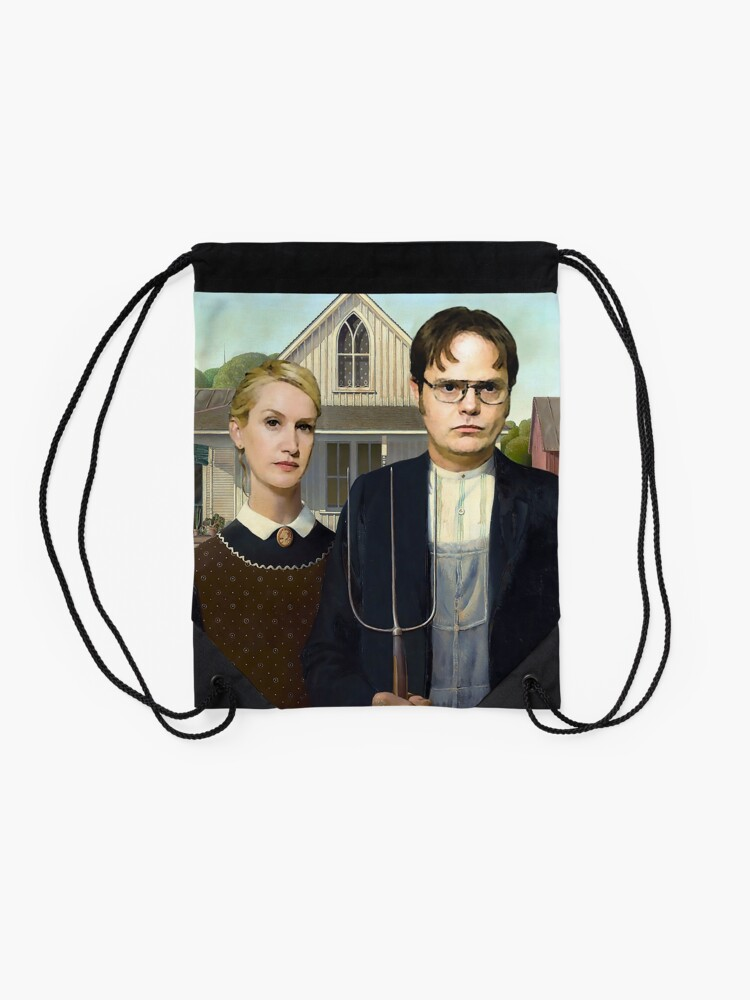 Alternate view of Dwight and Angela American Gothic Drawstring Bag