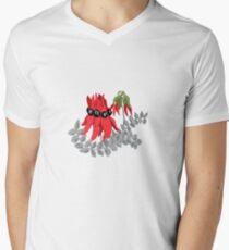 Australian Sturt Desert Pea Pattern V-Neck T-Shirt