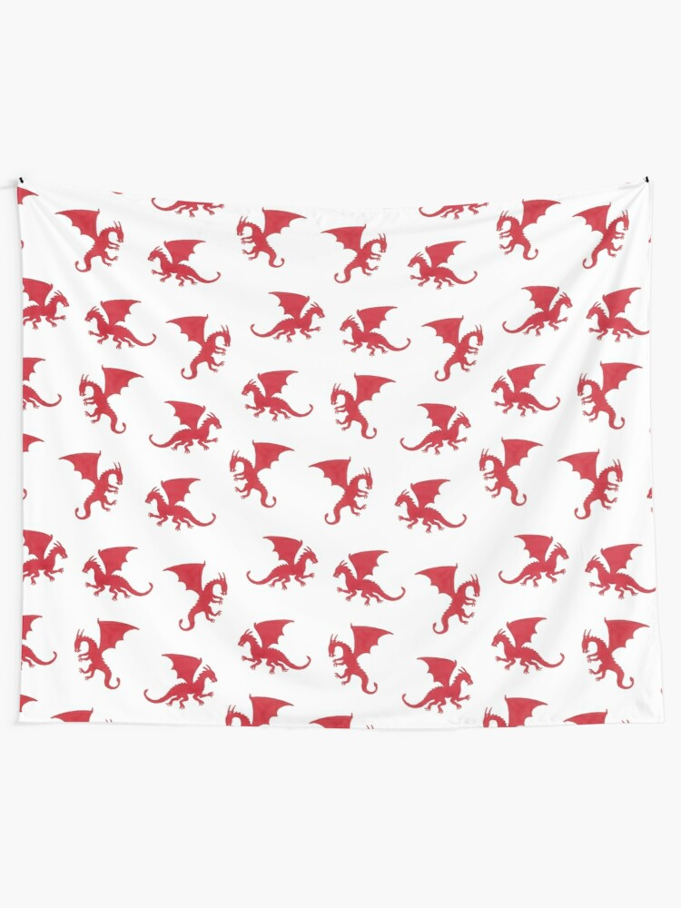 Alternate view of Red Dragons Pattern Tapestry