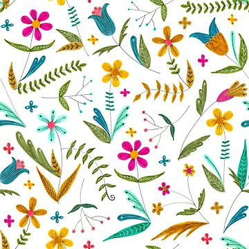 bright floral pattern with leaves and vines by swoldham
