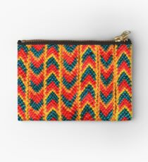 Red Green and Yellow Woven Bracelet Zipper Pouch