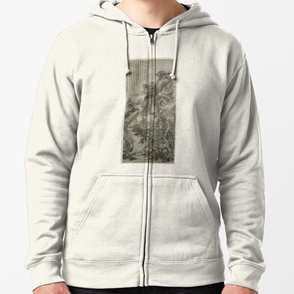 Wooded Mountains at Dusk (Restored Chinese Artwork) Zipped Hoodie