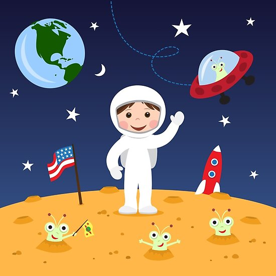 Quot Friends In Space Cute Cartoon Wall Art With Boy Astronaut