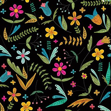bright colorful floral on black by swoldham