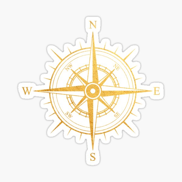 Rose of the Winds Gold Compass Symbol Sticker