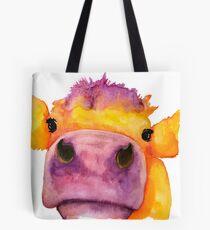 Cow face watercolor Tote Bag