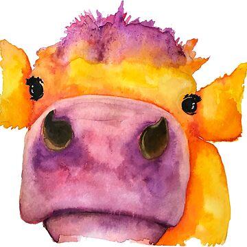 Cow face watercolor by jstunkard