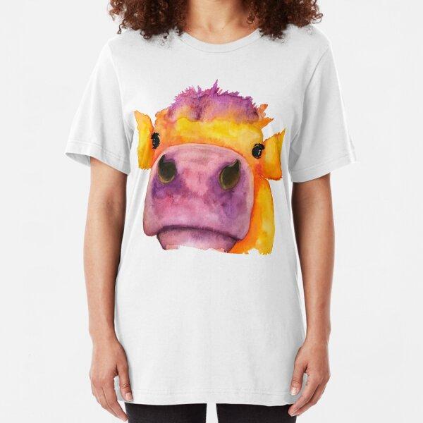 Cow face watercolor Slim Fit T-Shirt