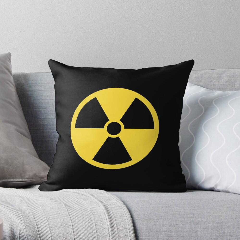 Nuclear radiation symbol, black border Throw Pillow