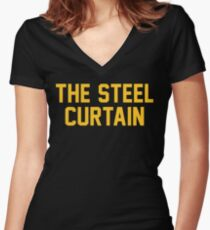 6c017b8f6 The Steel Curtain Women s Fitted V-Neck T-Shirt