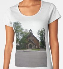 #Chapel #Typeofplaceofworship #Christian #place #prayer #worship #attached #larger #often #nonreligious #institution #considered #extension #primary #religious #institution Women's Premium T-Shirt