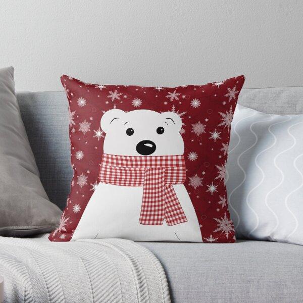Christmas polar bear. Throw Pillow