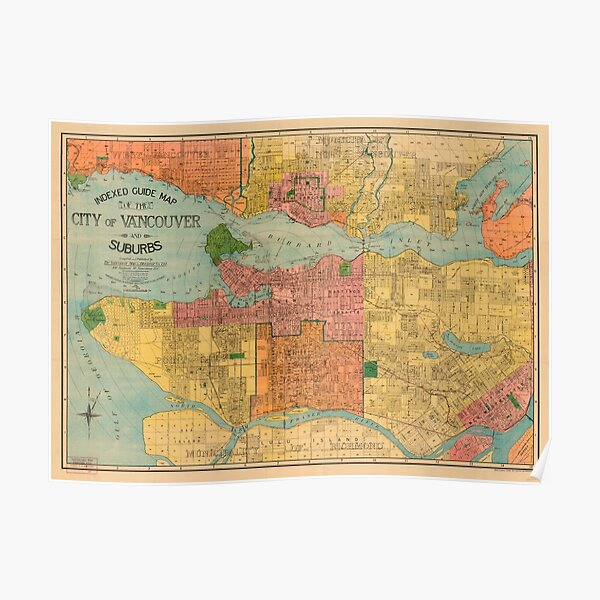 Indexed guide map of the city of Vancouver and suburbs Poster