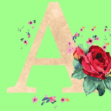 Letter A birthday gift for A names flower graphic by xsylx