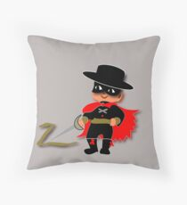 Retro Kid Billy features the legendary Zorro  Throw Pillow