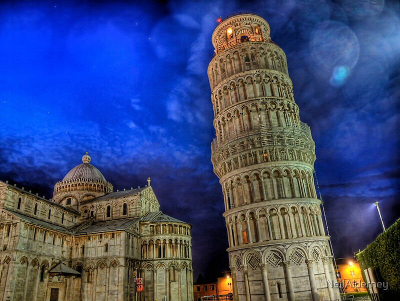 Quot Leaning Tower Of Pisa At Night Quot By Neilalderney Redbubble