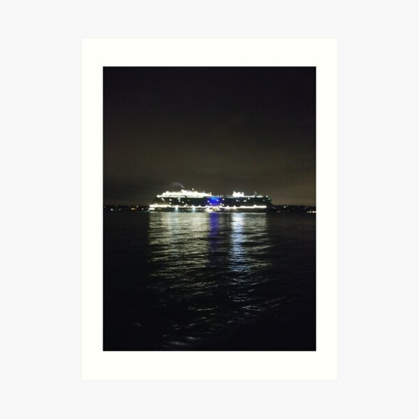 ship, sea, boat, water, ocean, cargo, sky, transportation, port, vessel, blue, travel, harbor, shipping, transport, yacht, summer, ferry, cruise, bay, nautical, tanker, industrial, river, night Art Print