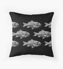 White Fish on Black Throw Pillow