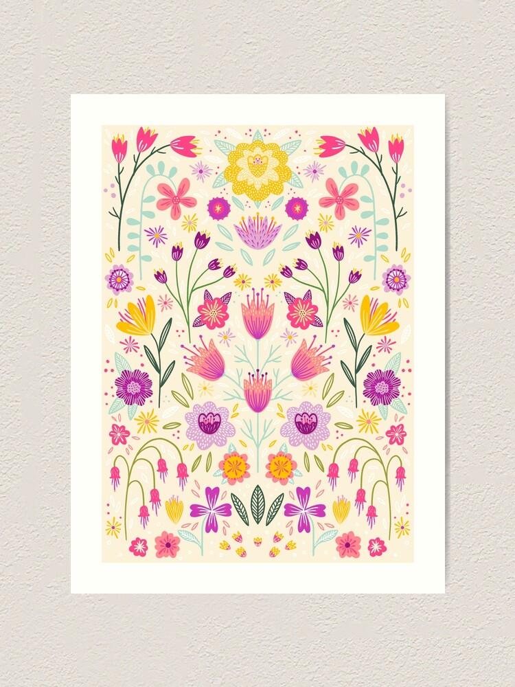 Alternate view of Bright Floral Symmetry Art Print