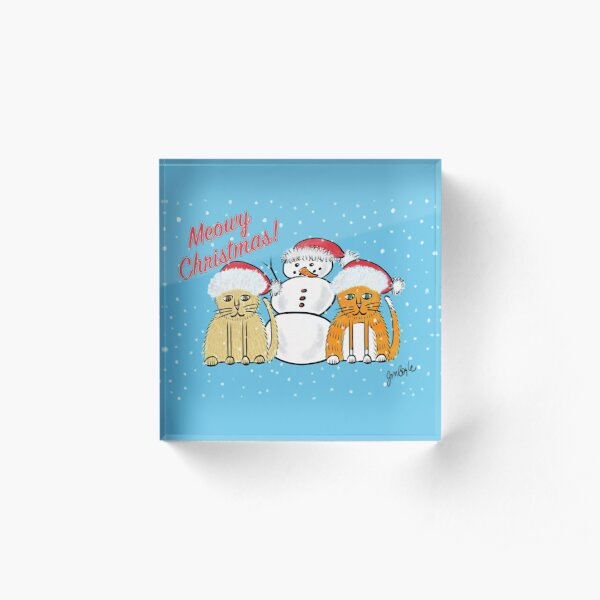 Fat Kitties Christmas Acrylic Block