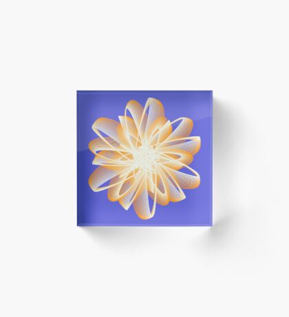 Abstract flower in orange Acrylic Block