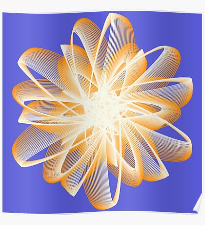 Abstract flower in orange Poster