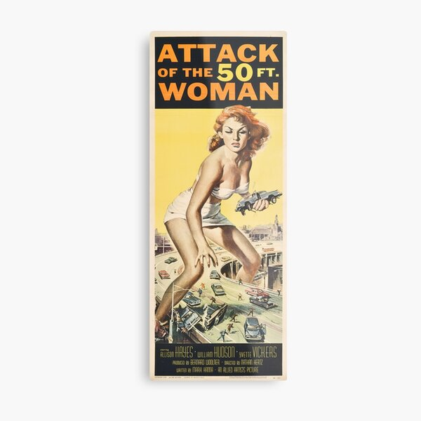 Attack Of The 50 Foot (ft.) Woman - Vintage Poster, Retro Design Metal Print