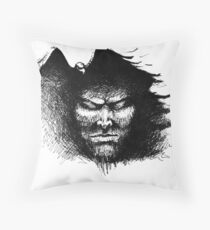 Black thoughts  - ink illustration  Throw Pillow