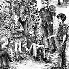 Bullies - ink illustration by Donata Zawadzka