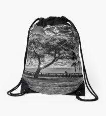 A Black and White Morning Drawstring Bag
