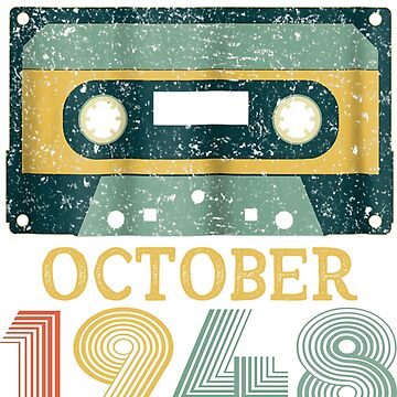 70th Birthday Gift Vintage October 1948 Year Old Mixtape by pigpro