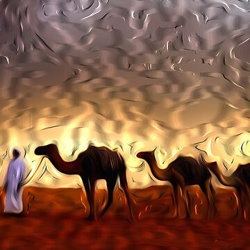 Camel In Desert by johnnyssandart