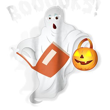 Ghost Reading Books Boooks Funny Halloween  by pigpro