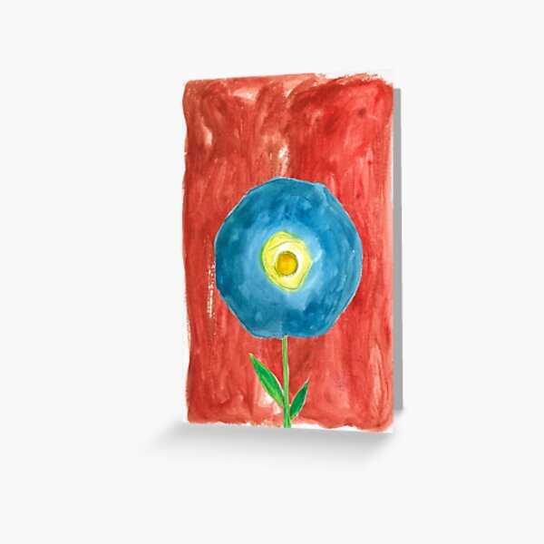 Blue Flower in Bold Wash Greeting Card