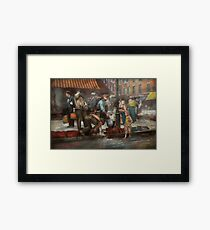 City - NY - Drinking water from a street pump 1910 Framed Print