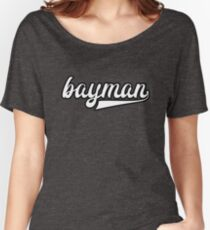 Bayman - White with black outline - Newfoundland Women's Relaxed Fit T-Shirt
