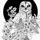 Owl Floral Eclipse - Black and White by Kellie Lamphere