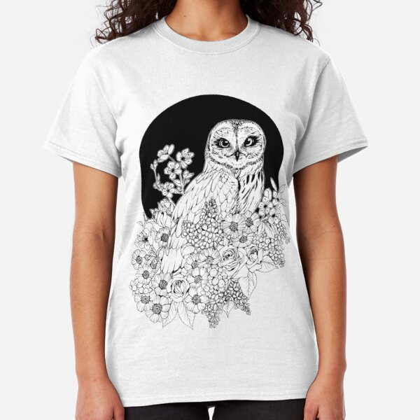 Owl Floral Eclipse - Black and White Classic T-Shirt