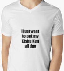 Kishu Ken Dog Lover Mom Dad Funny Gift Idea Men's V-Neck T-Shirt