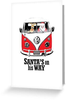 VW Camper Santa Father Christmas On Way Red by splashgti