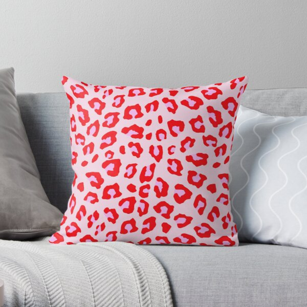 Leopard Print - Red And Pink Throw Pillow