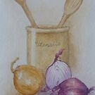 Still Life with Red Onion by Geraldine M Leahy